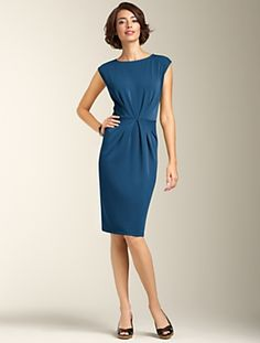 Talbots - Matte Jersey Pleat-Bodice Dress - I would like this with a full skirt, too. Just bought a similar dress in electric blue!