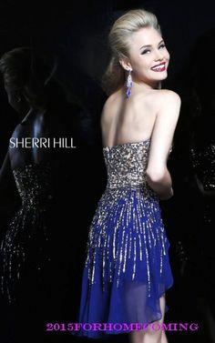 Sherri Hill 8443 Navy Sweetheart Neckline Homecoming Dress