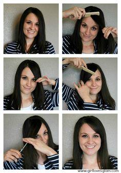 Cut your own side swoop bangs at home on www.girllovesglam.com #diy #hair #bangs #tutorial