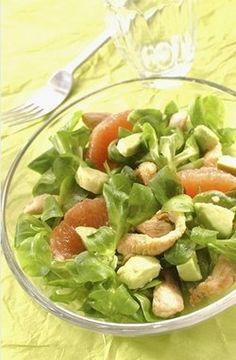 Salade poulet, avocat et pamplemousse