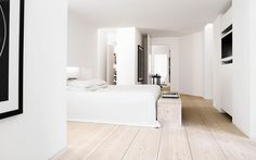 Dinesen Douglas floors. White-pine planks with layers of briwax liming wax