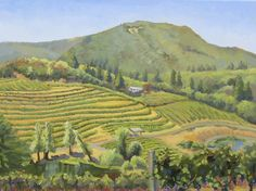 Vineyards on a mountain, landscape, California, impressionism,  oil painting, landscapes painting, realism, classical, plein air painting, green, vineyards,