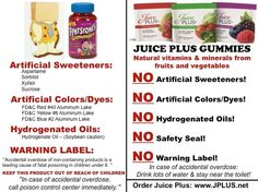 READ VITAMIN LABELS! We give our kids supplements to make them healthy....not toxic! Juice Plus is FOOD ~ Real, concentrated fruits & veggies in a capsule or delicious gummy & if your child ate the entire bag, you would not need to take him to the ER to have his tummy pumped (since it's just fruits & vegetables), yet you would IMMEDIATELY need to If he ate too many synthetic man made vitamins! Makes sense, doesn't it? Visit www.TiffR.JuicePlus.com or call 775-450-7520 PST to order Juice Plus