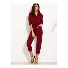 SheIn(sheinside) Burgundy Tie Waist Pocket Rolled Sleeve Jumpsuit (€28) ❤ liked on Polyvore featuring burgundy
