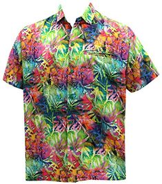 234c110c LA LEELA Aloha Hawaiian Tropical Beach Solid plain Mens C... Big Mens Shirts