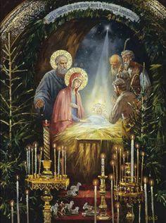 Nativity – Art and Faith Merry Christmas Gif, Holiday Gif, Christmas Scenes, Christmas Past, Christmas Nativity, Vintage Christmas Cards, Christmas Pictures, Christmas Greetings, Winter Christmas