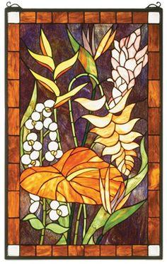 Meyda Tiffany Style 20 W X 32 H Tropical Floral Stained Glass Window 51539 Stained Glass Angel, Tiffany Stained Glass, Stained Glass Flowers, Stained Glass Designs, Stained Glass Projects, Stained Glass Patterns, Stained Glass Windows, Mosaic Designs, Mosaic Ideas