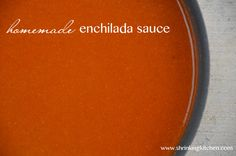 Homemade Red Enchilada Sauce (Shrinking Kitchen) - The flavor was good, but I didn't notice much difference from canned sauce. What definitely was different was that this sauce was thicker than canned red sauce (which I like! Recipes With Enchilada Sauce, Homemade Enchilada Sauce, Red Enchilada Sauce, Sauce Recipes, My Recipes, Mexican Food Recipes, Real Food Recipes, Cooking Recipes, Yummy Food