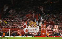 "Both Liverpool and Dortmund fans joined together for a deafening  rendition of the famous song ""You'll Never Walk Alone' before kick-off on a Europa League game played the night before the Hillsborough anniversary"