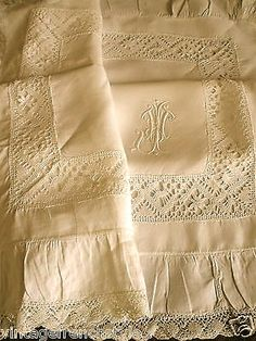 Vintage Monogrammed Linen with Lace and frill • I just adore this. www.spikala.com www.spikala.de www.spikala.nl