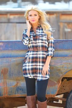 Bonfire Stories Flannel Tunic - Navy from Closet Candy Boutique