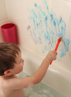 Use food coloring to create Bath Tub Paint! I know that sometimes it can be hard to get your children into the bath tub. Do this fun and easy craft with your children to make them so excited for bath time! It washes right off the bath tub!