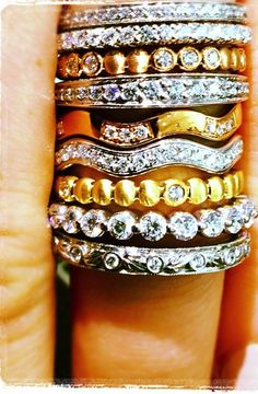 Real Ritani rings - stacked diamond bands for a powerful sparkle