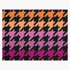 Hounds Tooth, Purple, Pink, Lesbian, Jigsaw Puzzles, Kids Rugs, Art Prints, Abstract, Printed