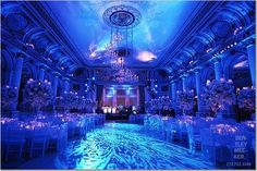 Beautiful uplighting with some texture gobos. #Uplighting #wedding #weddingdj