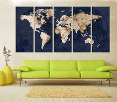 Canvas prints add a unique touch to your home. Modern, stylish and unique design will be the most special piece of your decor. Especially for those who like abstract works, black and white acrylic painting can be prepared in desired sizes  abstract wall art, Old world Map wall art print, Large world map wall art canvas, fine art print Living room and aoffice decor, 7s74  i designed the watercolor map on photoshop. you will receive high resulation canvas print   ◆ GALLERY WRAPPED CANVASES We…
