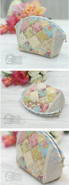Patchwork Pouch - - Rosy Quilt - DIY and Crafts Fabric Purses, Fabric Bags, Patchwork Bags, Quilted Bag, Craft Bags, Purse Patterns, Little Bag, Zipper Bags, Handmade Bags