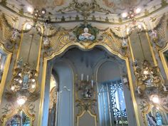 I love the style of this German Rococo style room with the Meissen porcelains on the walls, so beautiful.