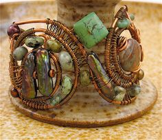 Wire Wrapped Copper, Brass, Stone Cuff Bracelet