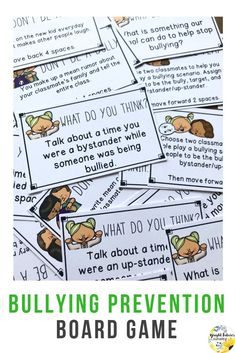 Teach students how to prevent bullying with this fun bullying prevention board game! Students will learn to identify the different roles in bullying situations, share their own experiences with bullying, and identify solutions to prevent bullying in the future. #brightfuturescounseling #elementaryschoolcounseling #elementaryschoolcounselor #schoolcounseling #schoolcounselor #bullyingprevention #counselinggames Elementary School Counselor, School Counseling, Elementary Schools, Bullying Prevention, Social Emotional Learning, Anti Bullying, Character Education, I School, Lesson Plans