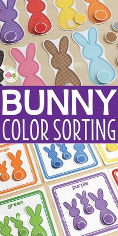 Teach colors with this cute bunny activity.  Kids can work on color sorting and matching, size sorting, and one-to-one correspondence with this hands-on Easter activity. Perfect for busy bags, and math centers in preschool, pre-k, and tot school.  Activities for you Easter theme, bunny theme, Spring theme, pets theme unit and lesson plans.