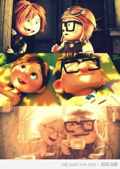 I like how Pixar can tell a better love story in 8 minutes then twilight did in all three movies. Disney Pixar, Walt Disney, Disney Magic, Disney Movies, Disney Animation, Toy Story 3, Love Story, Carl Y Ellie, Dramas