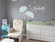 Dandelion flowers with Name, fower decal, dandelion decal, Butterflies Nursery Wall Vinyl. $38.00, via Etsy.