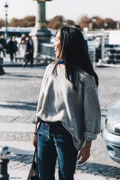 PFW-Paris_Fashion_Week-Spring_Summer_2016-Street_Style-Say_Cheese-Grey_Jumper-Bandana-Jeans-