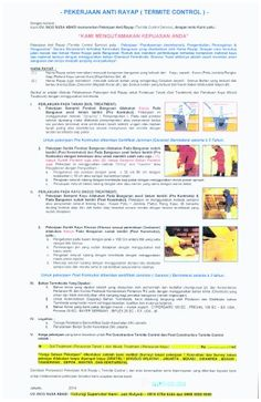 Brosur penawaran pekerjaan  Anti Rayap , --> CV. INCO NUSA ABADI , memiliki ijin Dinas kesehatan DKI Jakarta , memiliki Tenaga ahli Anti Rayap bersertifikat , Kami Berikan Sertifikat Bermaterai Jaminan Anti Rayap selama 3 s/d 5 tahun , Gratis untuk survey ke lokasi anda & konsultasi , Hubungi Telepon : 081807846244, 088808089089, 085692420909 . Terima kasih.