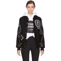 Opening Ceremony Black Logo Varsity Bomber Jacket (25.465 RUB) ❤ liked on Polyvore featuring outerwear, jackets, black, style bomber jacket, bomber style jacket, embroidered bomber jacket, blouson jacket and letterman jacket