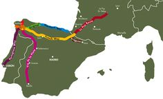 The various routes of the Camino de Santiago.