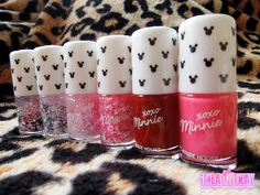 Minnie in the Nails nail polishes from the Etude House xoxo Minnie Mouse collection 2013; 2 gel solid color nail polish and 4 glitters - - www.imladiiekay.com - - Kay ♥ Beauty | Fashion | Lifestyle