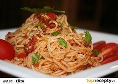 Špagety z Říma recept - TopRecepty.cz Spaghetti, Food And Drink, Pasta, Dinner, Ethnic Recipes, Animals, Animais, Animales, Animaux