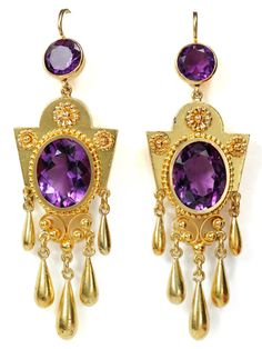 1870 gold and amethyst earrings