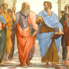 """Die Uneinigkeit der Philosophen:  Platon: """"Mensch, da oben spielt die Musik!"""" Darauf Aristoteles: """"Sachte sachte, bleib mal auf dem Teppich alter."""""""