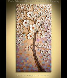 This hand painted oil painting features White Cherry Blossom