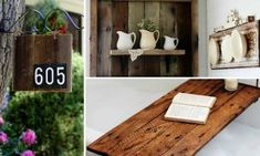 15 Eco-Friendly DIY Reclaimed Wood Craft Ideas For Your Home - Siding Colors & Consumer Loan & Home Loan & Debt Free & Credit Score & Chase Credit Card - VIP Financial Education Cool Diy, Easy Diy, Fun Diy, Clever Diy, Rustic Nightstand, Architecture Art Design, Photo On Wood, Vintage Diy, Wood Crafts