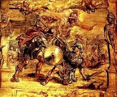 PETER PAUL RUBENS, 1577 - 1640: Achilles kills Hector. Oil on panel, 44 x 57'5.