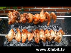 Tasty BBQ Chicken Souvla Cooked Over Hot Charcoals on a Traditional Greek…