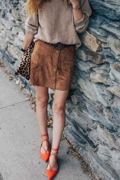 suede mini skirt, lace up flats