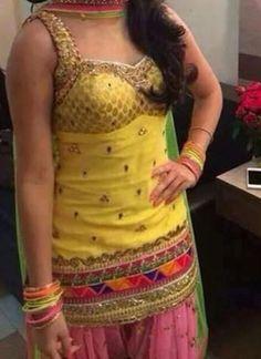 Yellow With Pink Double layered Salwar Punjabi Suit at zikimo