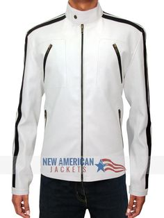 One of Outstanding #AaronPaul #NeedForSpeed white Leather Jacket on Sale with $30 Discount ▬► Limited Time Offer.