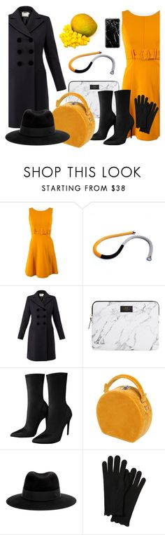 """Yellow & Black 2018"" by colchico ❤ liked on Polyvore featuring Prada, Goat, Bertoni, Maison Michel and Recover"