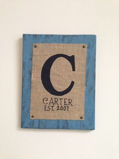 Monogram Burlap Wall Hanging