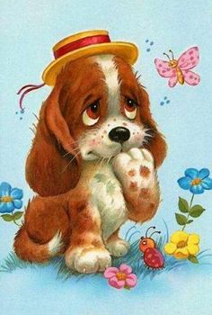 Online Photo Editor - Edit your photos, pictures and images online for free Illustration Mignonne, Cute Illustration, Vintage Cards, Vintage Postcards, Cute Puppies, Cute Dogs, Baby Animals, Cute Animals, Art Mignon