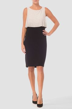 Turn heads in this knee-grazing, two-tier Joseph Ribkoff sheath dress. Joseph Ribkoff Dresses, Sequin Dress, Sheath Dress, Best Sellers, Champagne, Short Dresses, Sequins, Black, Style