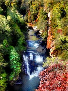 """The Tallulah Gorge in northeast Georgia is a canyon formation 3 miles long and 1,200 feet deep. It was created by a series of waterfalls that were dammed by the Georgia Power Company in 1912. Named after a Native American word for """"terrible,"""" Tallulah Gorge was traditionally feared as a home for evil spirits. It was among the most visited tourist destinations in the state in the late nineteenth and early twentieth centuries."""