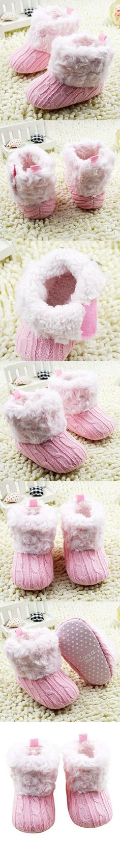Sunward Toddler Baby Girls Knit Soft Fur Winter Warm Snow Boots Crib Shoes (11CM(Suggest 0-12 months), Pink)