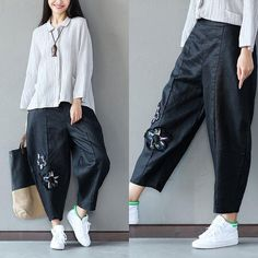 b468e6013949 Linen Women Loose Embroidered Black Pants - Buykud Denim Ideas