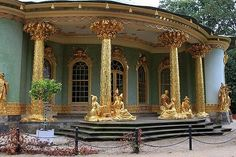 Potsdam, Berlin Germany...  Chinese Tea House  One of the most photographed places in Park Sanssouci is the Chinese Tea House. The circular pavilion was constructed between 1755 and 1764, when Chinese art was very popular. Frederick the Great had it built as a decorative piece. Now is used to display a collection of Chinese Porcelain.